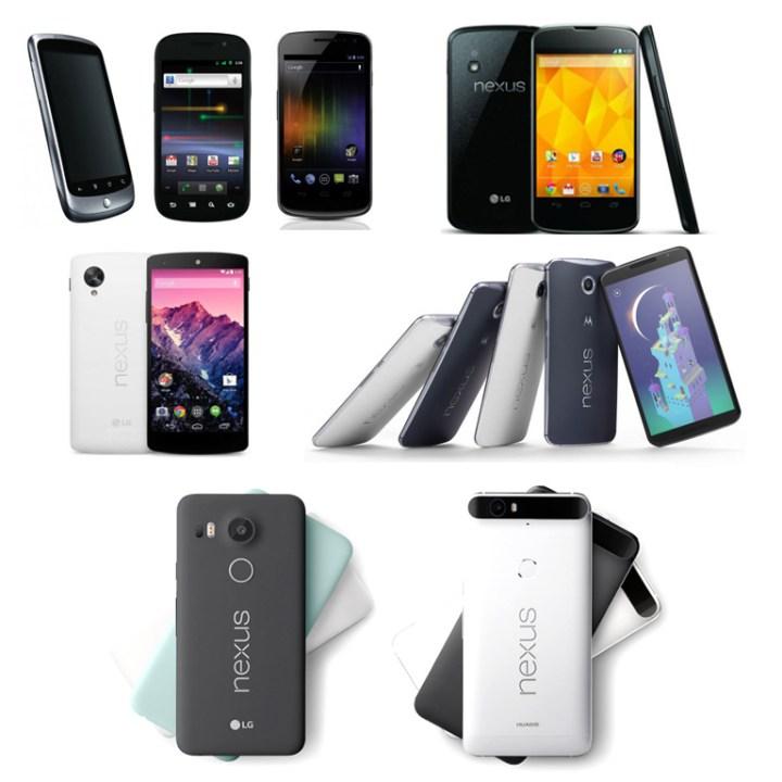 All the Nexus smartphones from 2010 - 2015