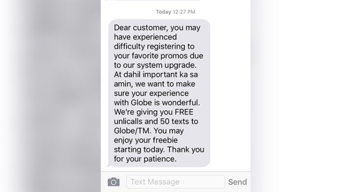 Globe offers free calls, texts after promo downtime
