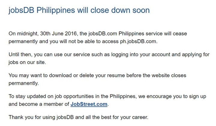 Jobsdb philippine website to shut down on june 30 yugatech thanks cheeze for the tip reheart Choice Image