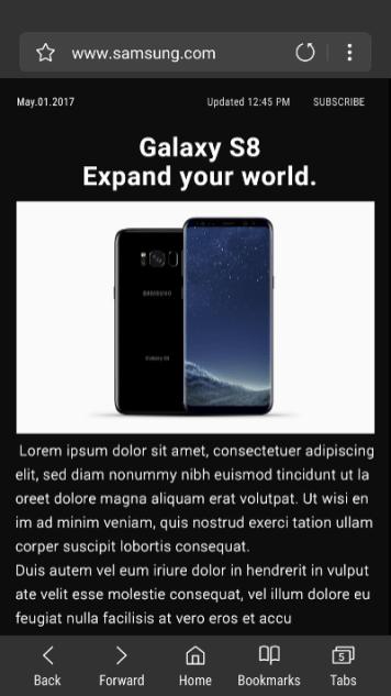 samsung browser v6 high contrast mode