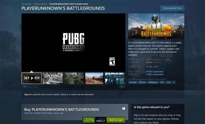 PlayerUnknown's Battlegrounds on sale on Steam - YugaTech