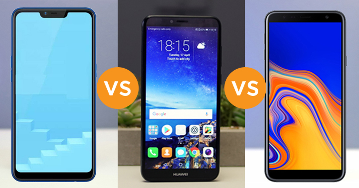 Realme C1 vs Huawei Y6 2018 vs Samsung Galaxy J4+ specs