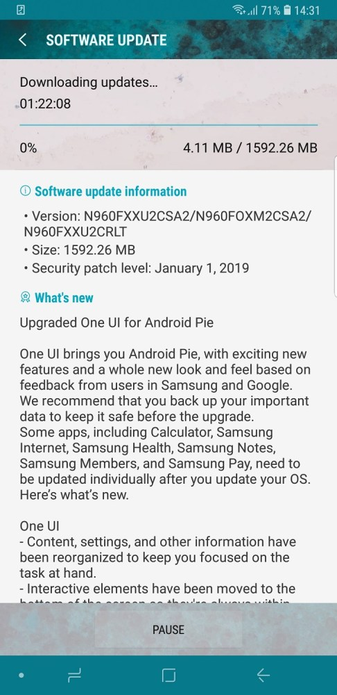 Samsung Galaxy Note 9 gets One UI, Android 9 Pie update