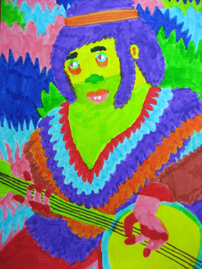 Felt tip drawing of a guy playing a banjo by Patrick Gildersleeves