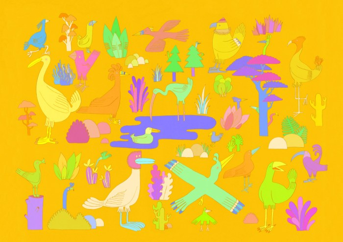 Birds and cacti coloured by YUK FUN