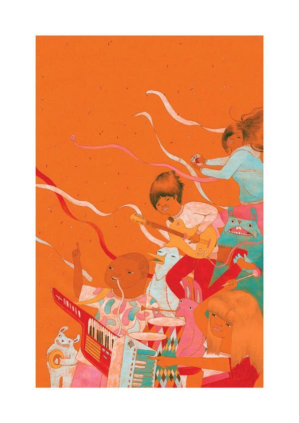 Future Band Illustration Art Print by YUK FUN