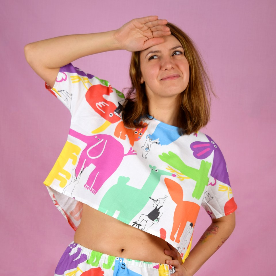 Cute colourful animal print crop top by YUK FUN