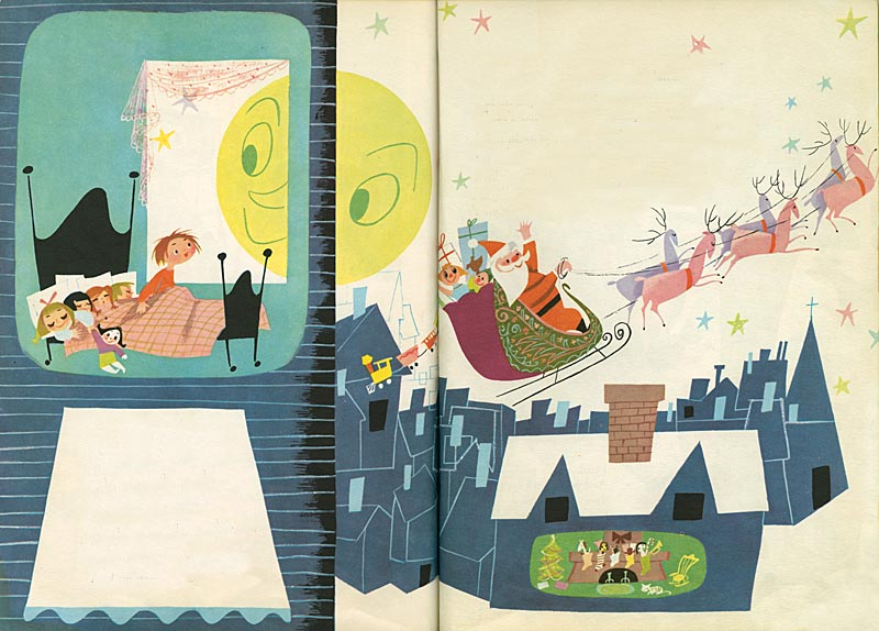 Christmas spread from The Golden Book of Little Verses illustrated by Mary Blair