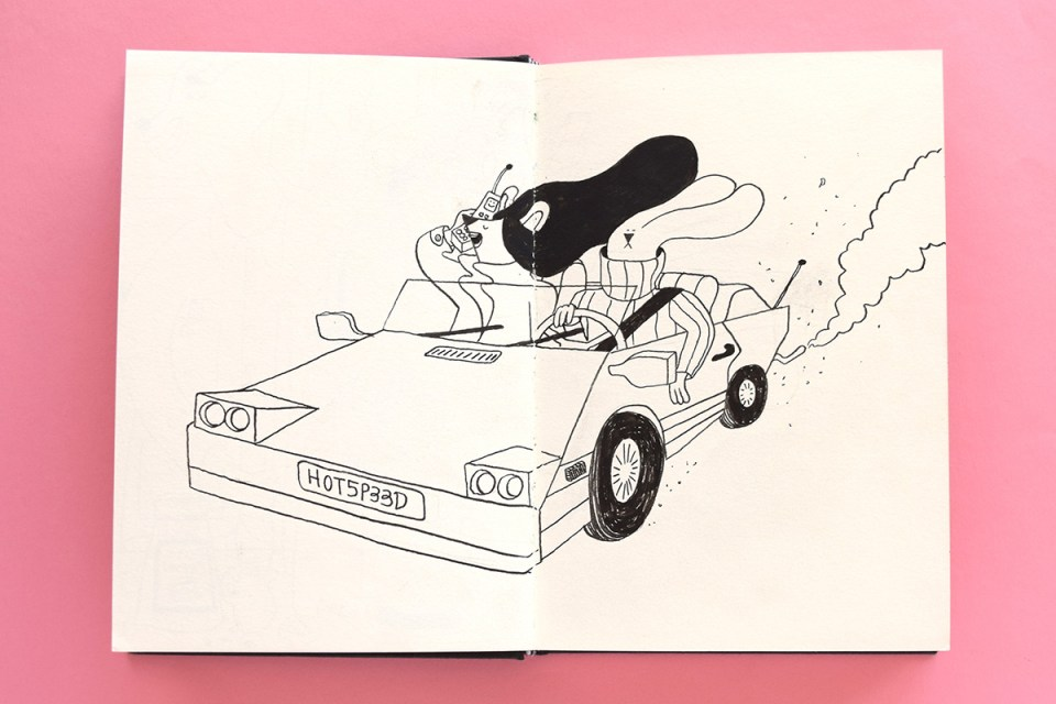 Drawing of two furry characters driving in their sports car