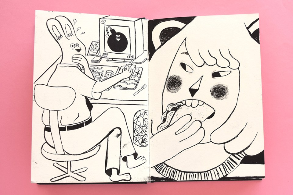 Double page sketchbook spread by YUK FUN