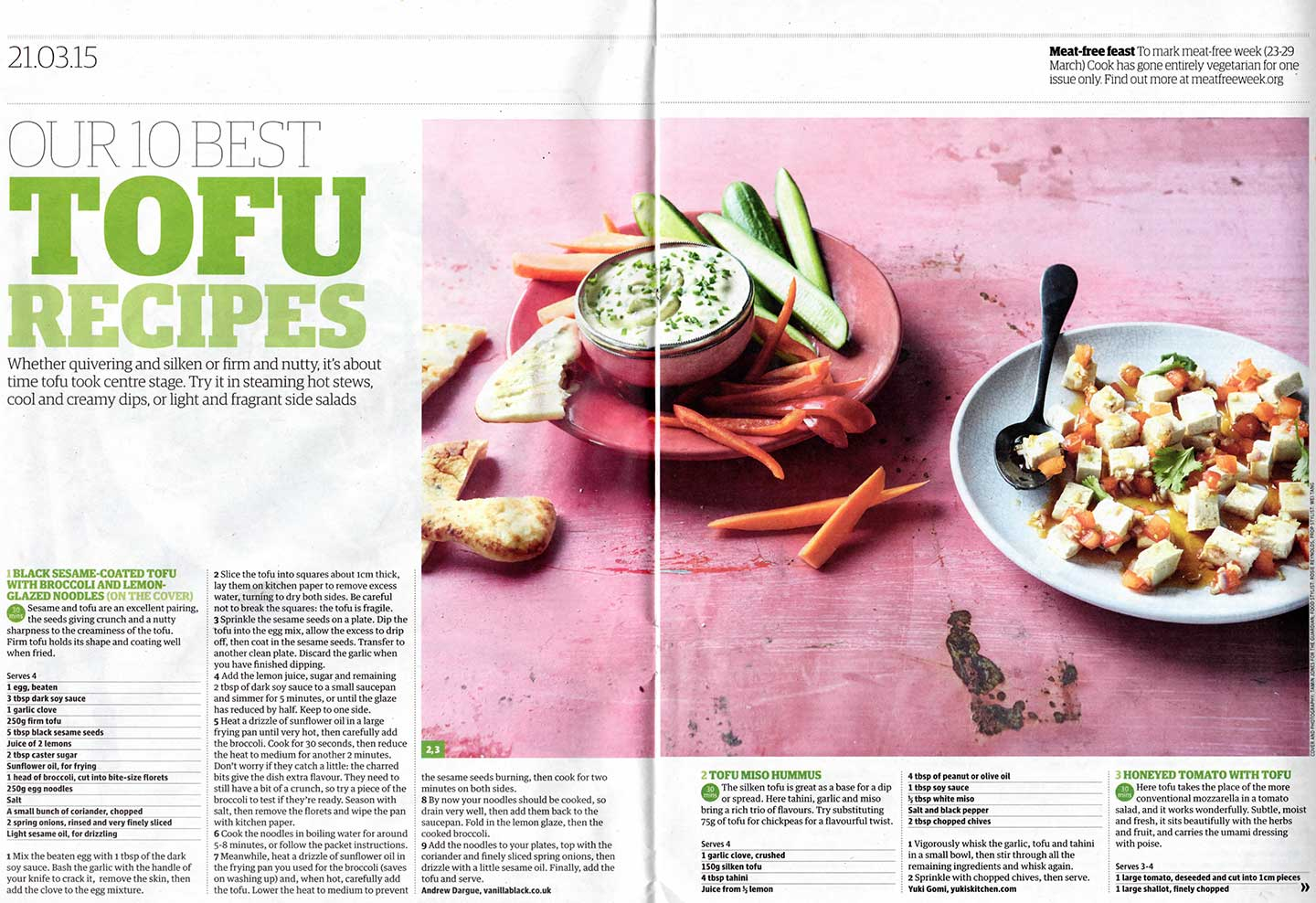tofu hummus recipe as featured in the guardian