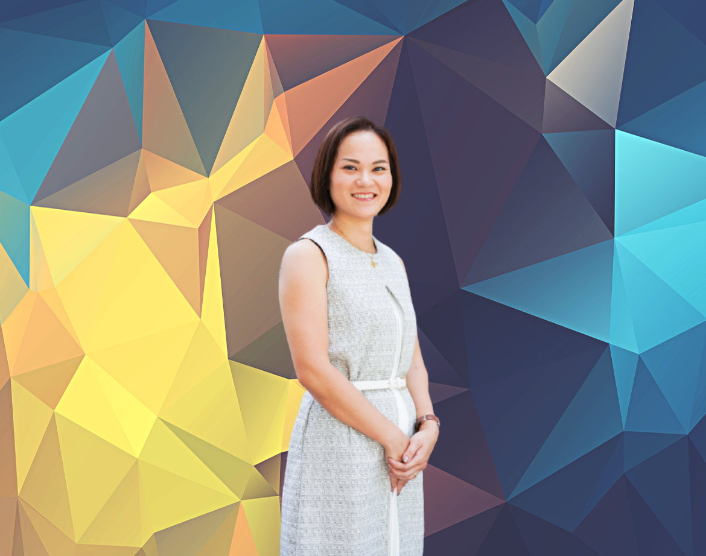 Yuko Oshiro blue background