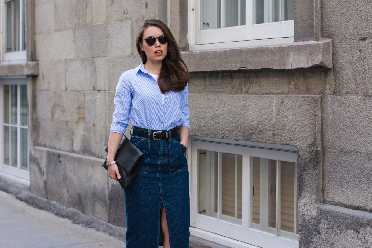 Midi Denim Skirt Outfit, Or How to Wear Patched Denim Off The Runway
