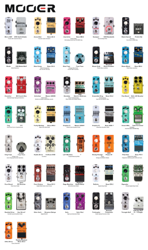 The Range of Mooer Guitar Effect Pedals