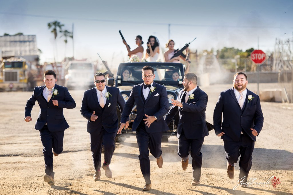 These bridemaids decided to chase the groom and his groomsmen using a Jeep Wrangler and many guns. The groomsmen are running for thier lifes!