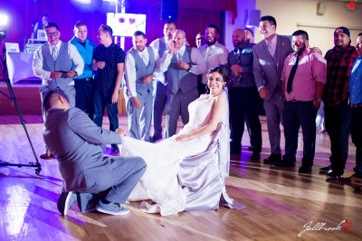 Miguel and Crystal have their wedding reception in Yuma, Arizona at the Cocopah RV and Golf Resort.