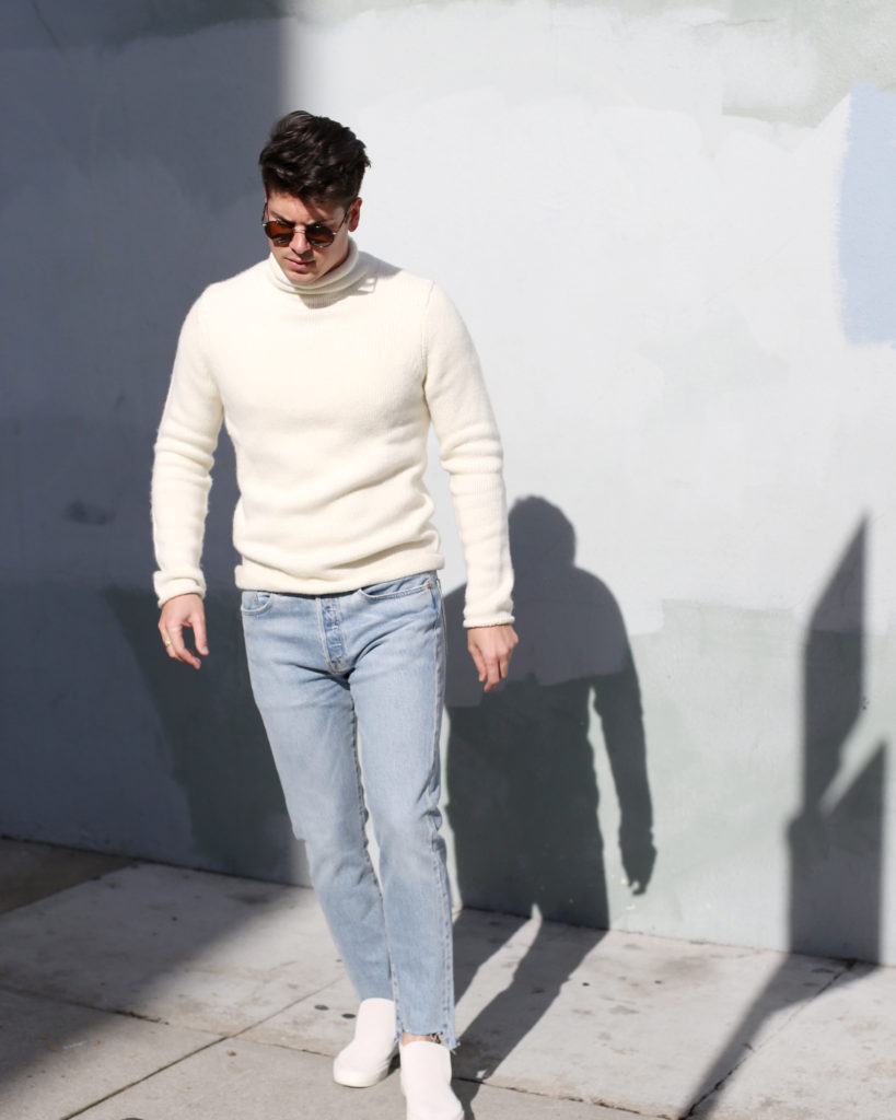 Brock, wearing Abercrombie turtleneck, Levi's jeans and SeaVees slip-ons