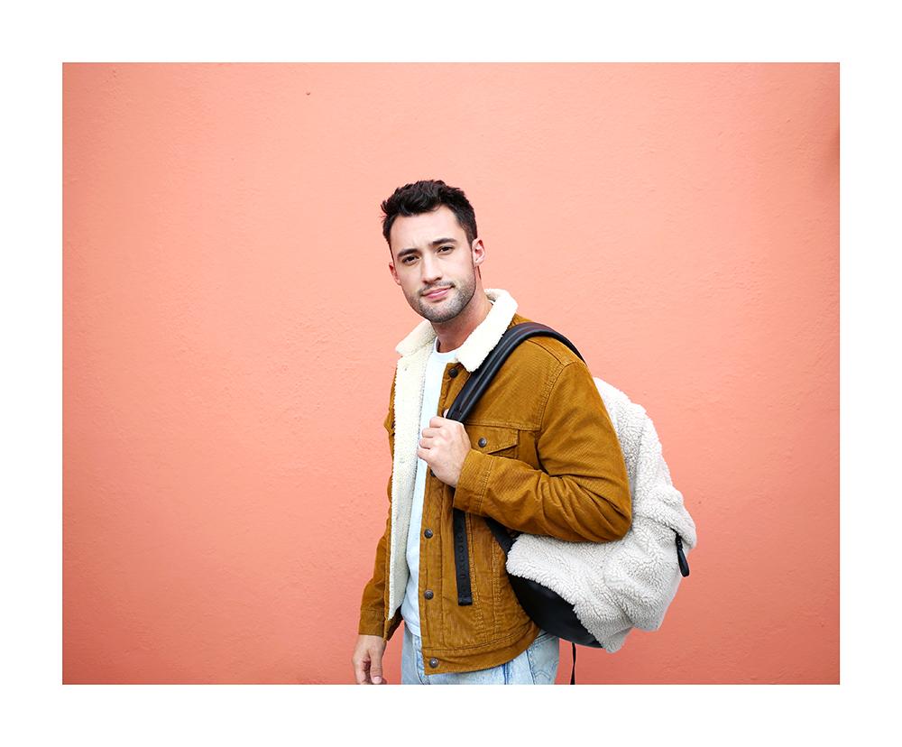 Chris, of Yummertime, wearing a Levi's trucker jacket