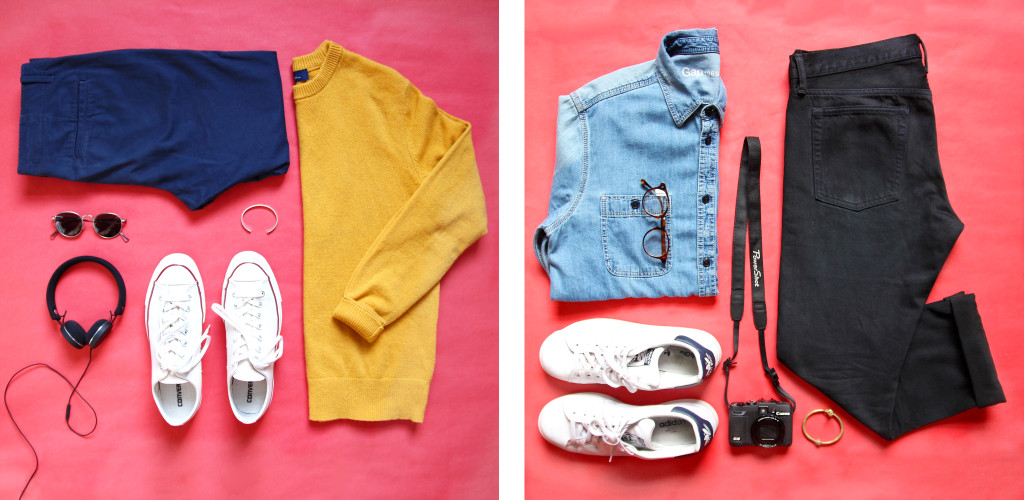 Brock and Chris, of Yummertime, style Gap fall essentials