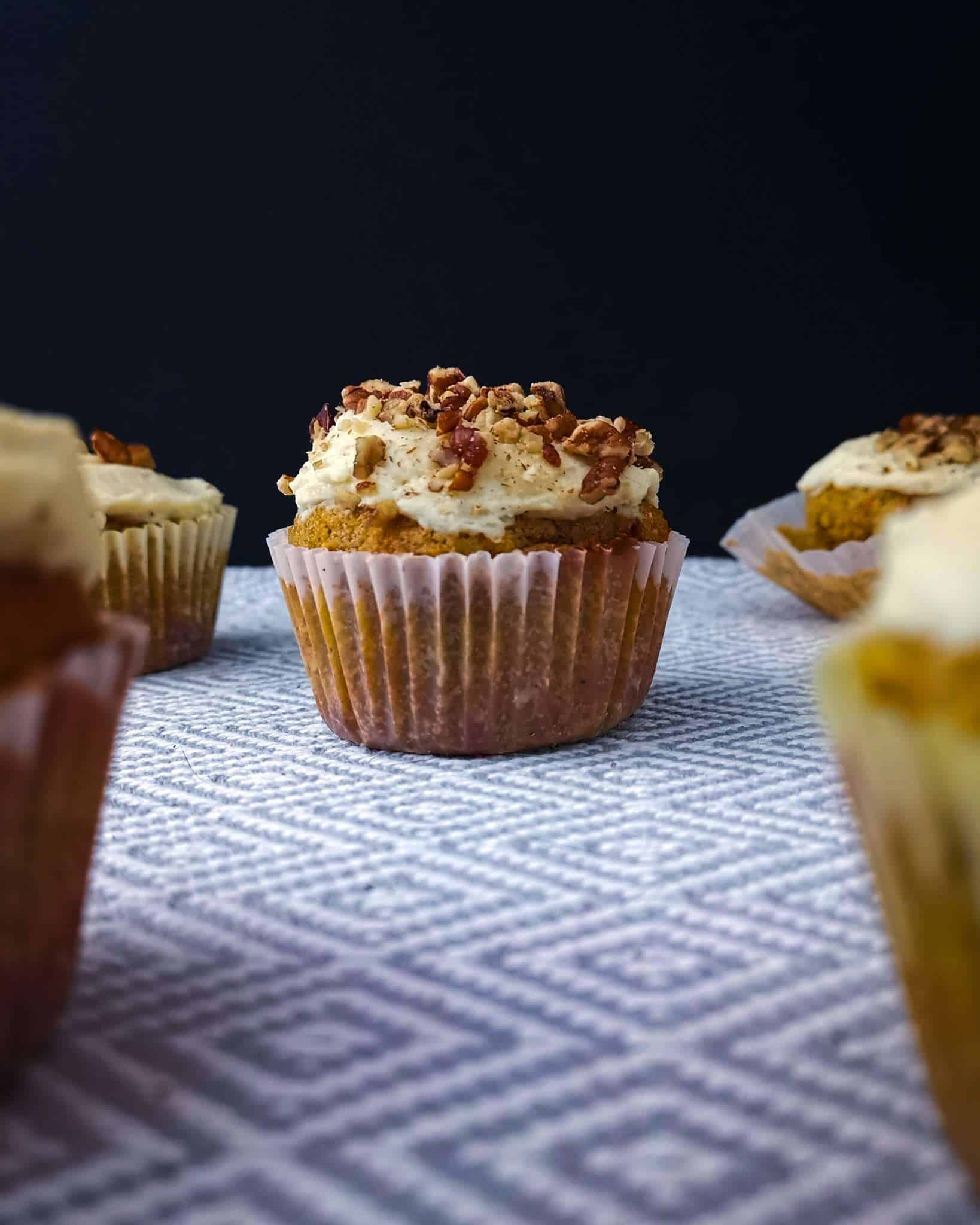 Low carb carrot cake cupcake with cream cheese frosting