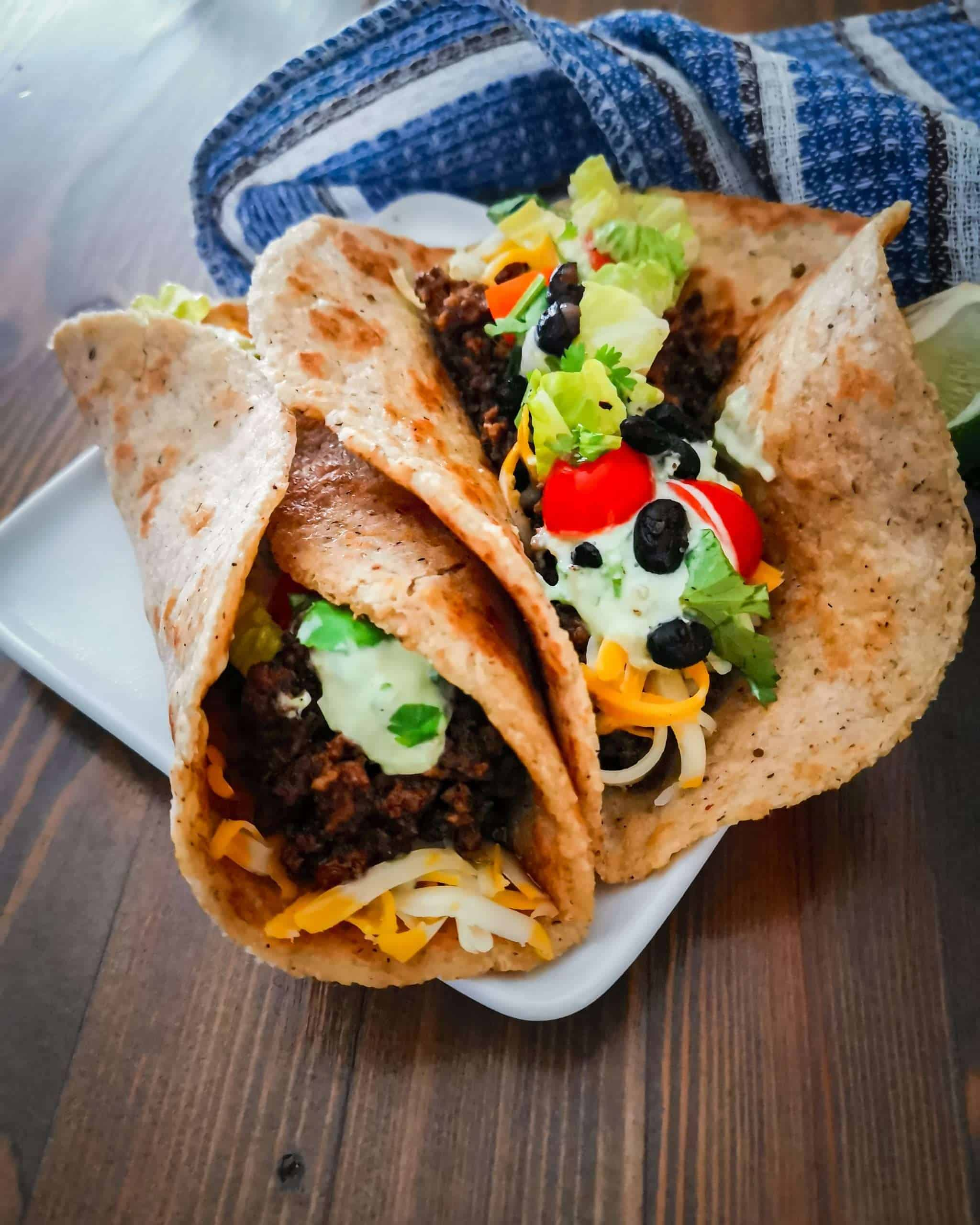 Keto tortilla wrapped around tacos