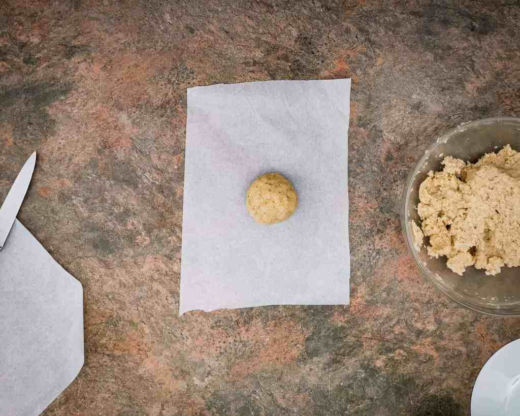 Keto Tortilla Dough ball on Parchment