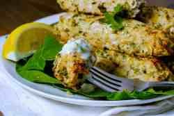 Low Carb chicken kebab on a fork with raita