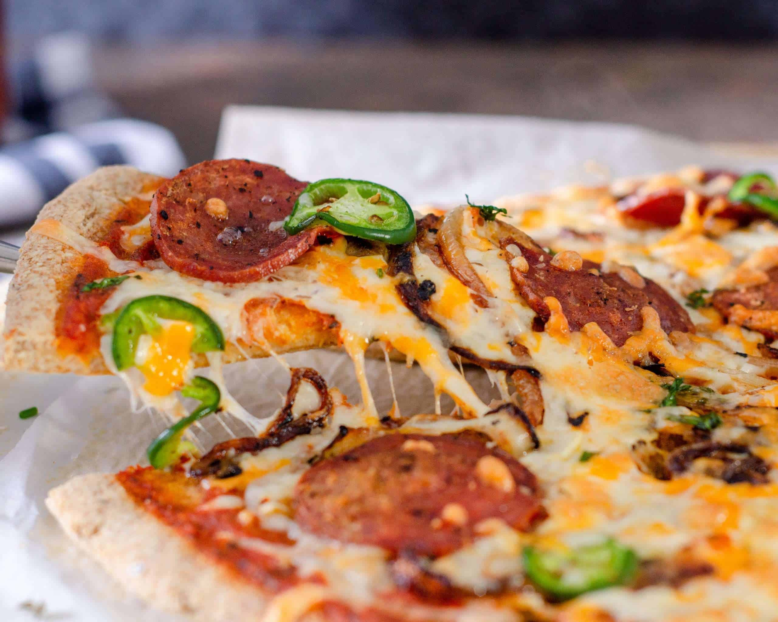 Low Carb Pizza cheese pull
