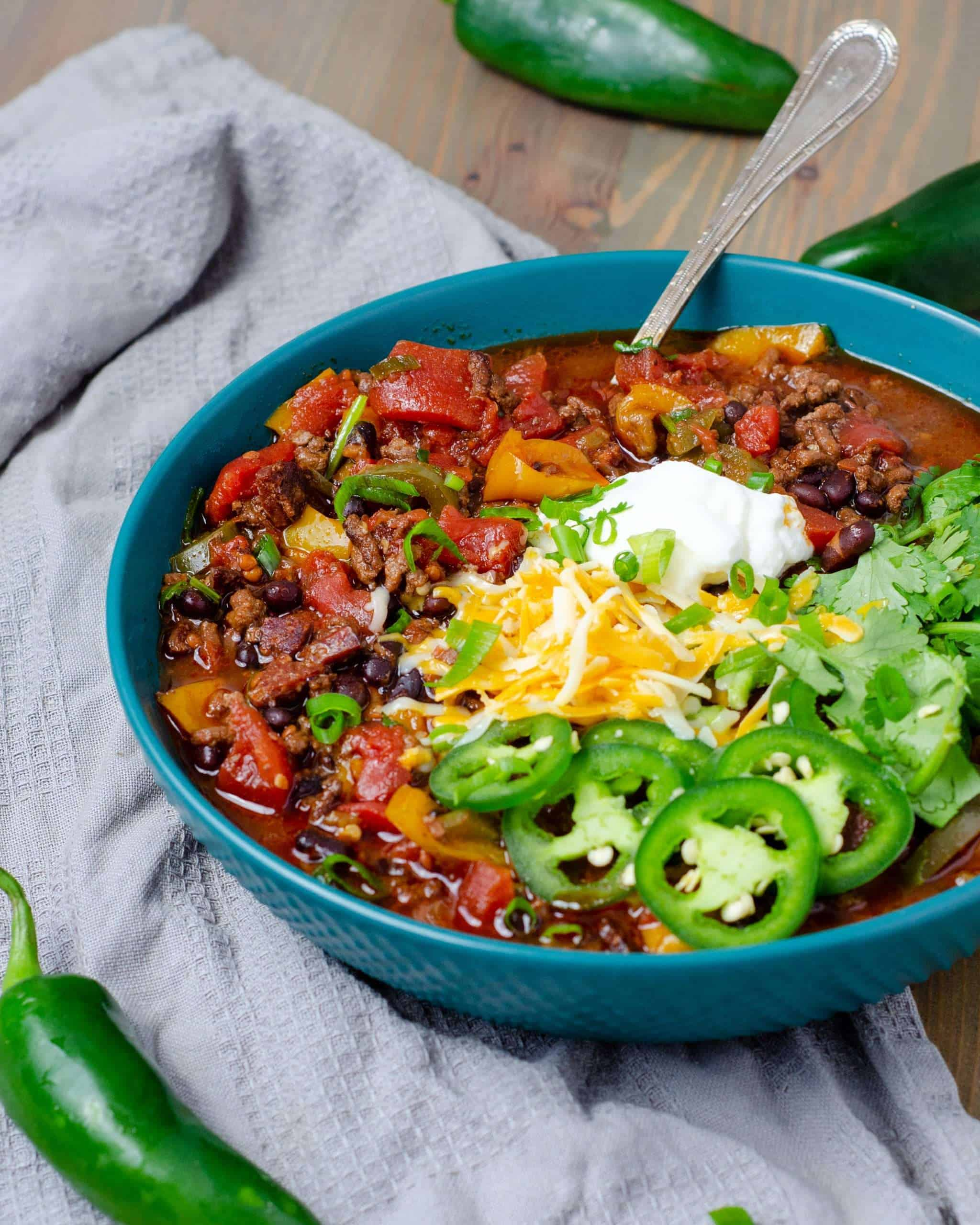 Low Carb Chili Garnished