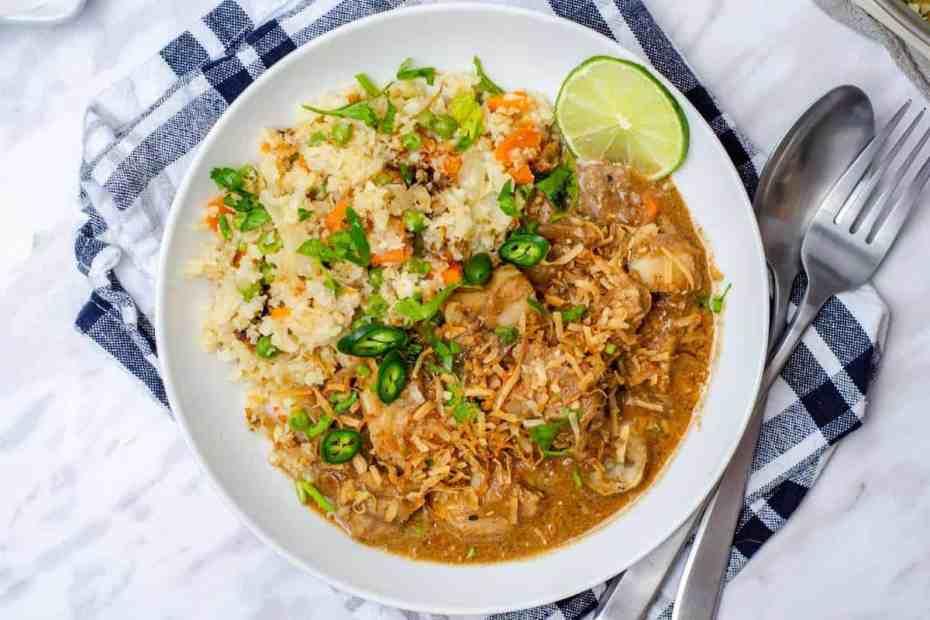 Low Carb Fish Korma and Cauliflower Pulao