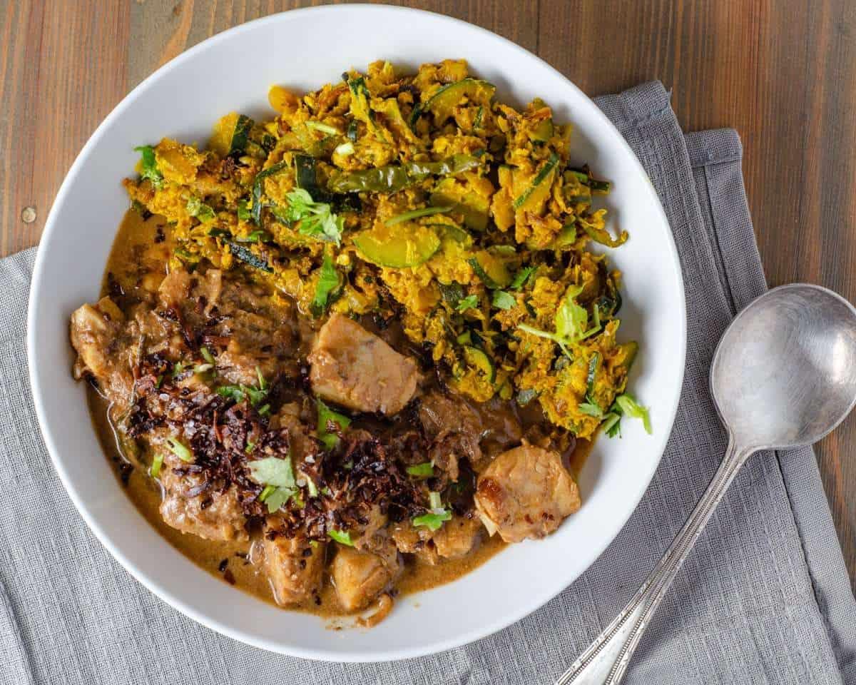 Fish Korma and Low Carb Zucchini Bhaji