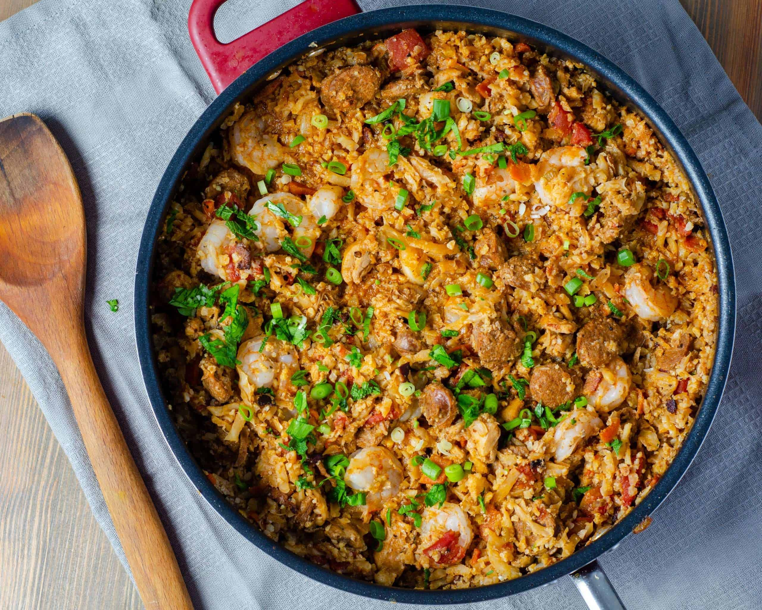 Cauliflower Rice Jambalaya in a pot