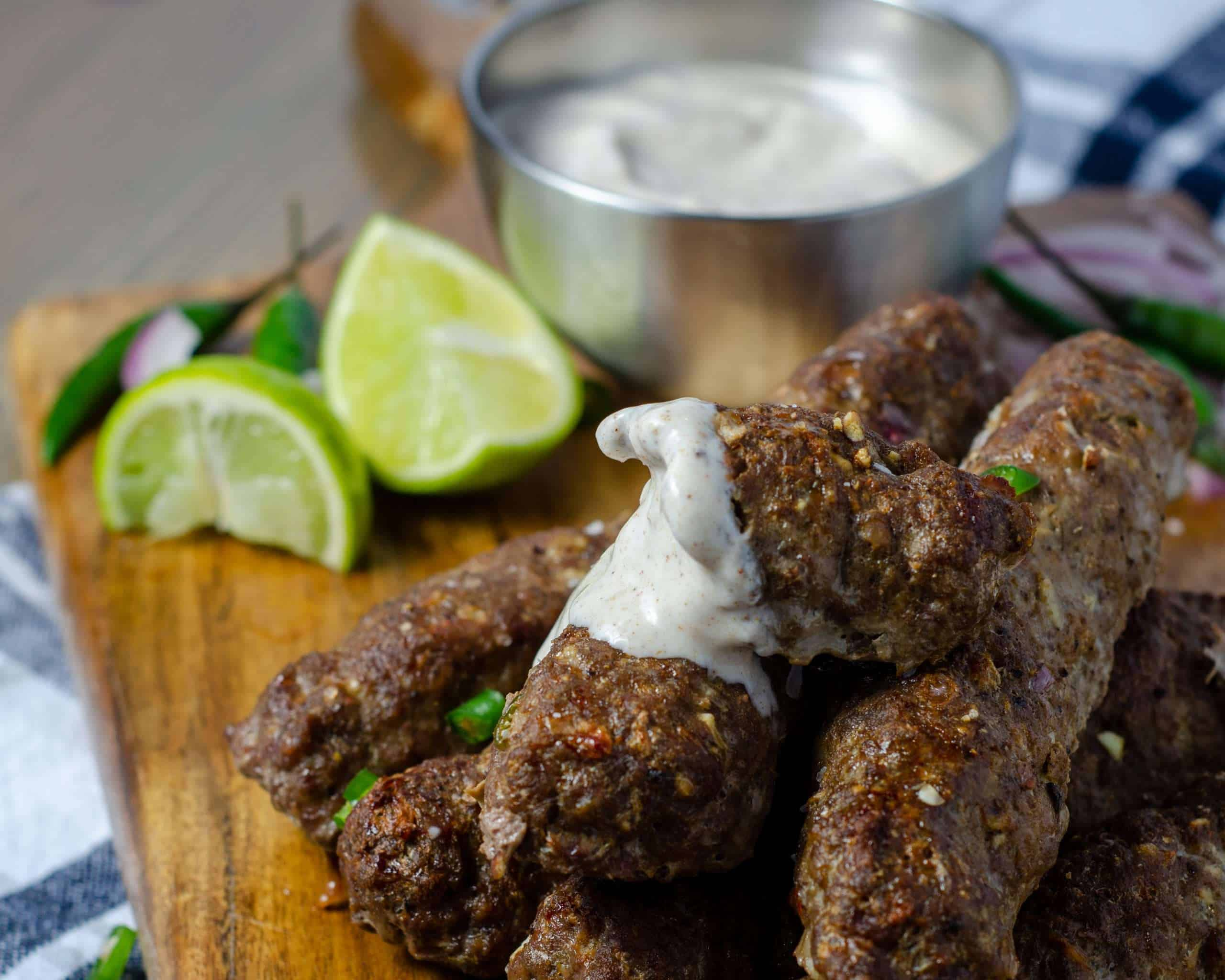 Low Carb Seekh Kebab with yogurt Raita