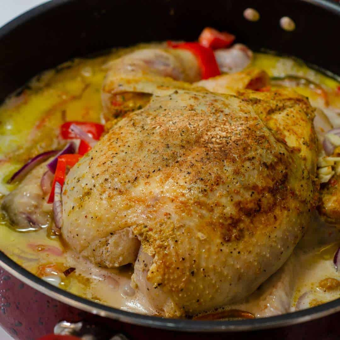 A whole chicken after ebing seared and ready for braising in the oven