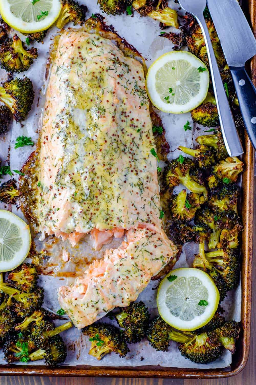 Keto sheet pan honey Dijon salmon