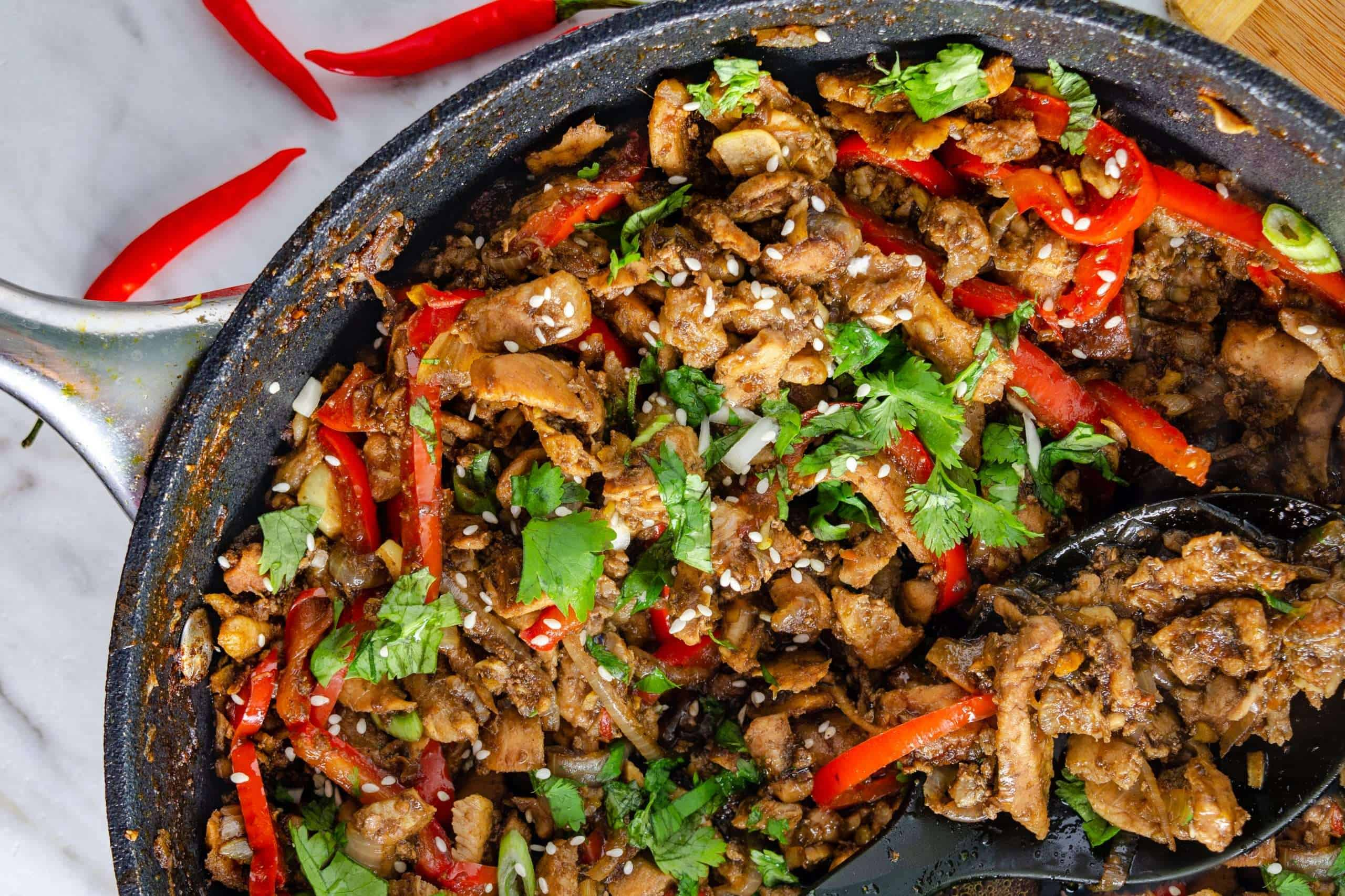 Keto Thai Ginger pork in a pan from above
