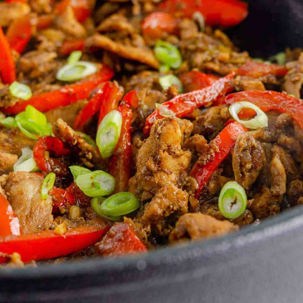 Keto Thai ginger pork close up in a pan