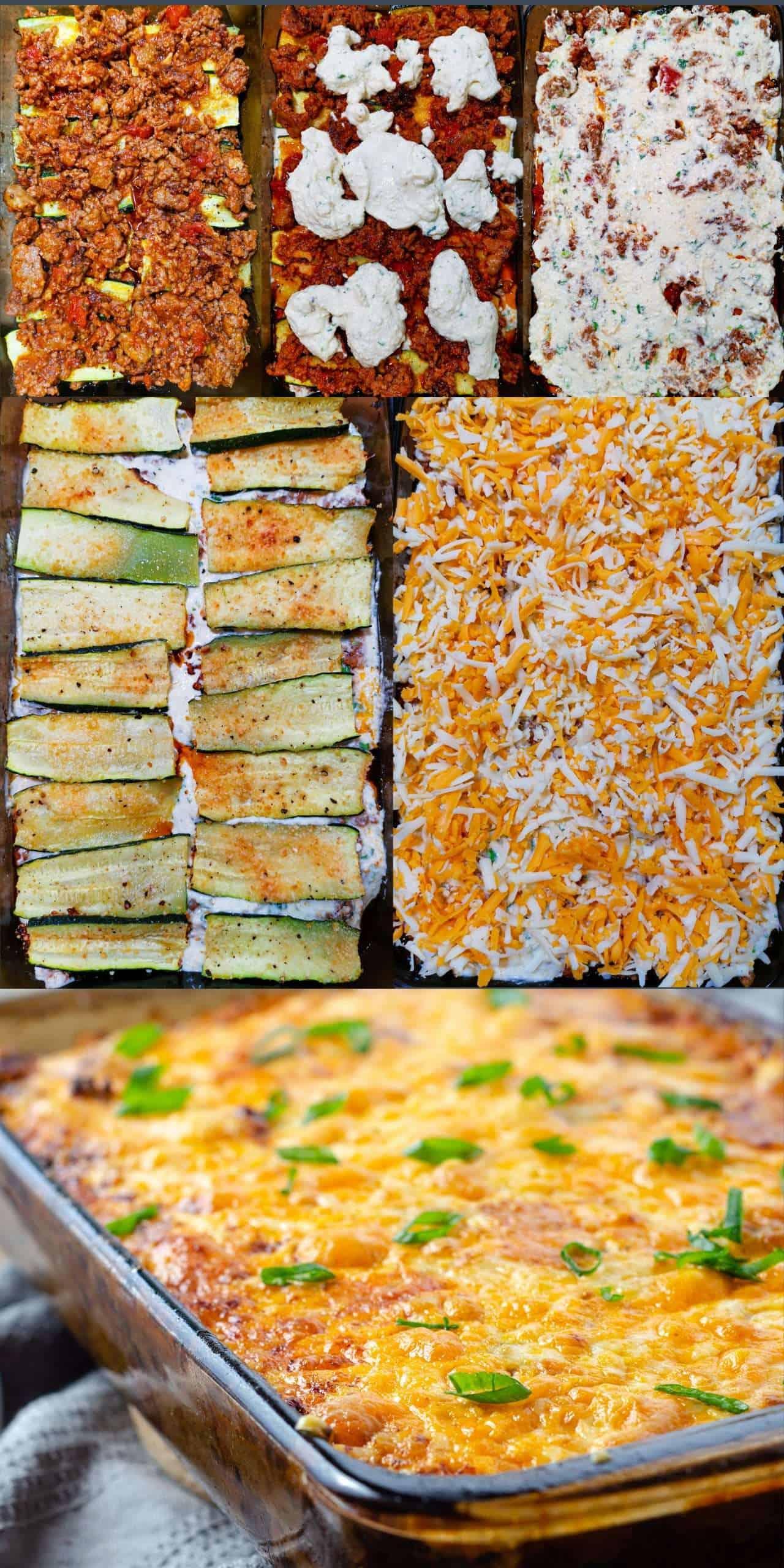 Recipe sequence image for layering keto zucchini lasagna