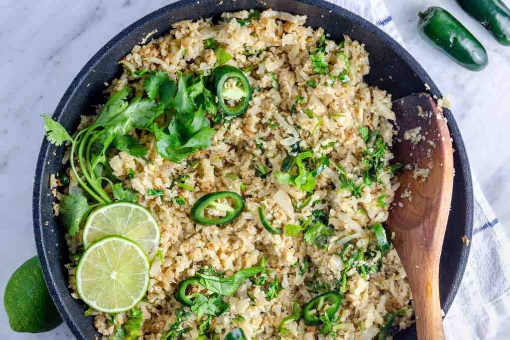 Keto cilantro lime rice food photography