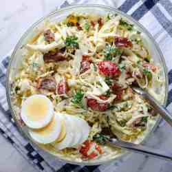 BLT keto coleslaw recipe image, in a bowl