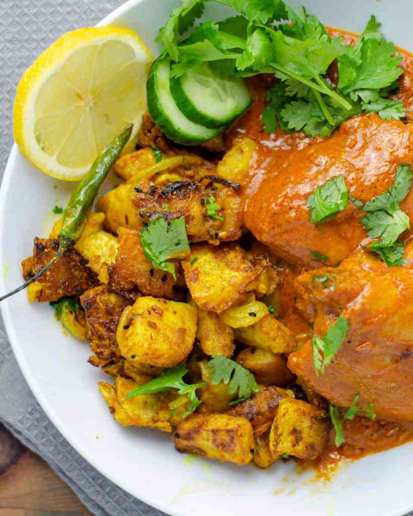 Keto Celeriac Bhaji on a plate with low carb butter chicken