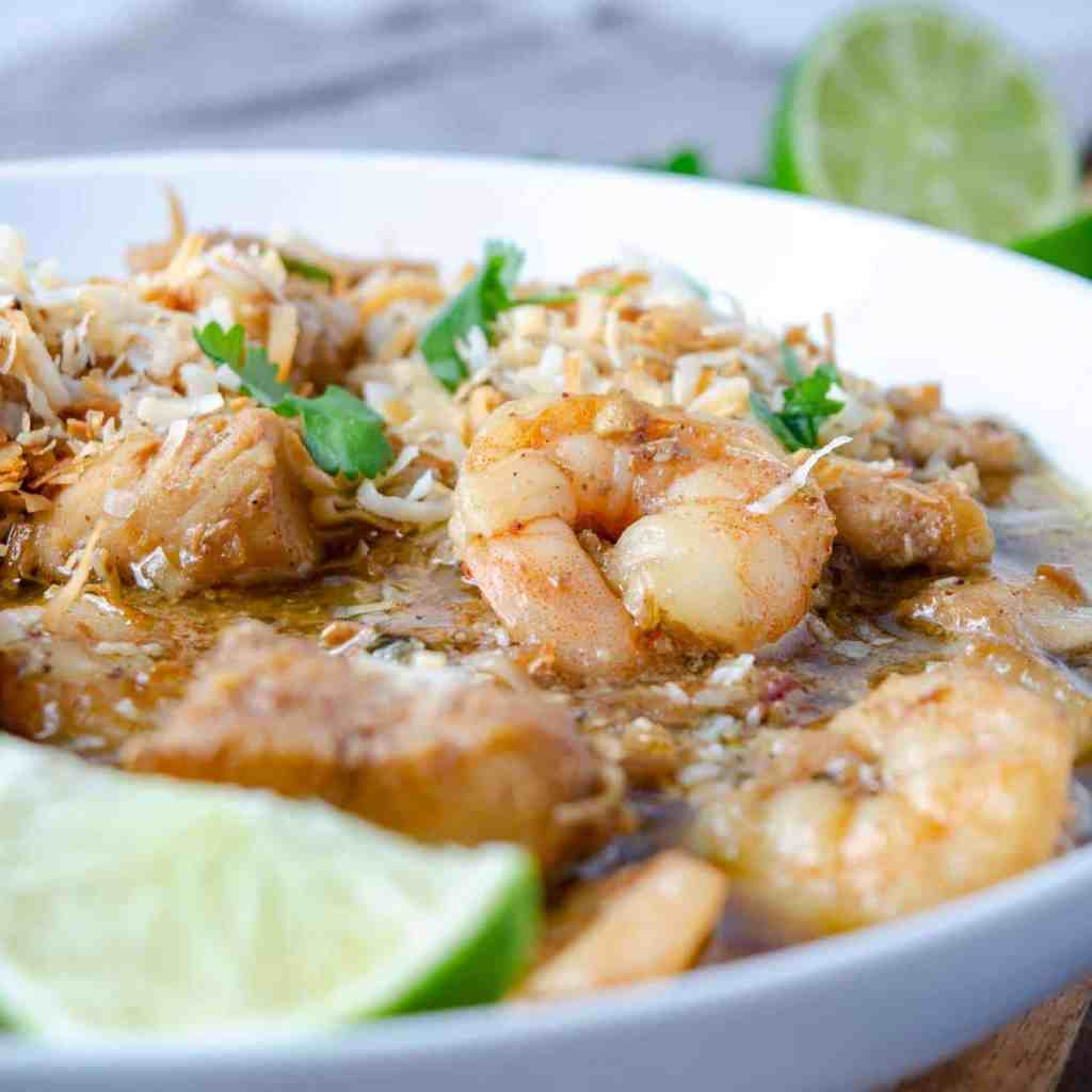 Keto seafood korma in a bowl
