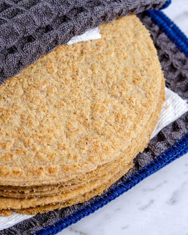 Stack of keto tortillas