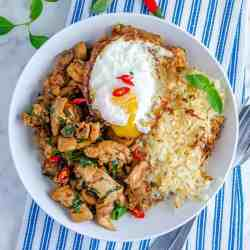 Low carb Thai basil chicken with cauli rice and a fried egg