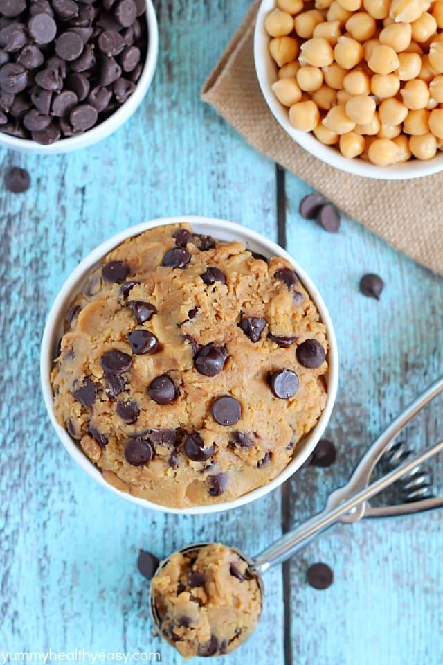 Healthy Eggless Cookie Dough - no-bake cookie dough you can eat with a spoon! It's made from a secret ingredient... garbanzo beans! #glutenfree #dairyfree #vegan