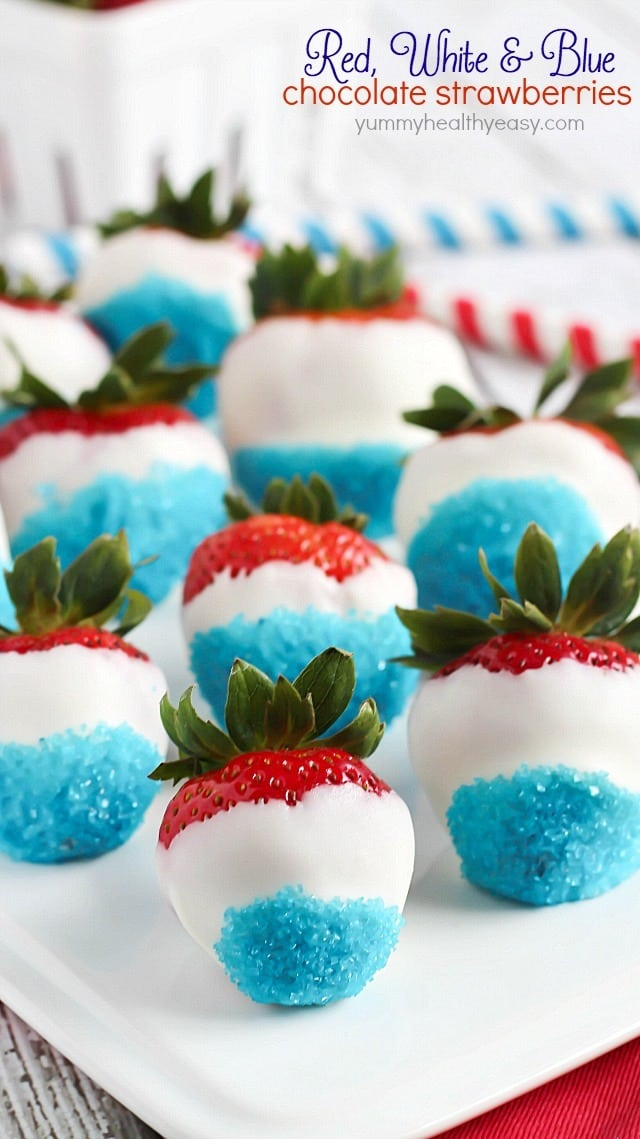 Red, White, & Blue Chocolate Covered Strawberries {Yummy, Healthy, Easy}