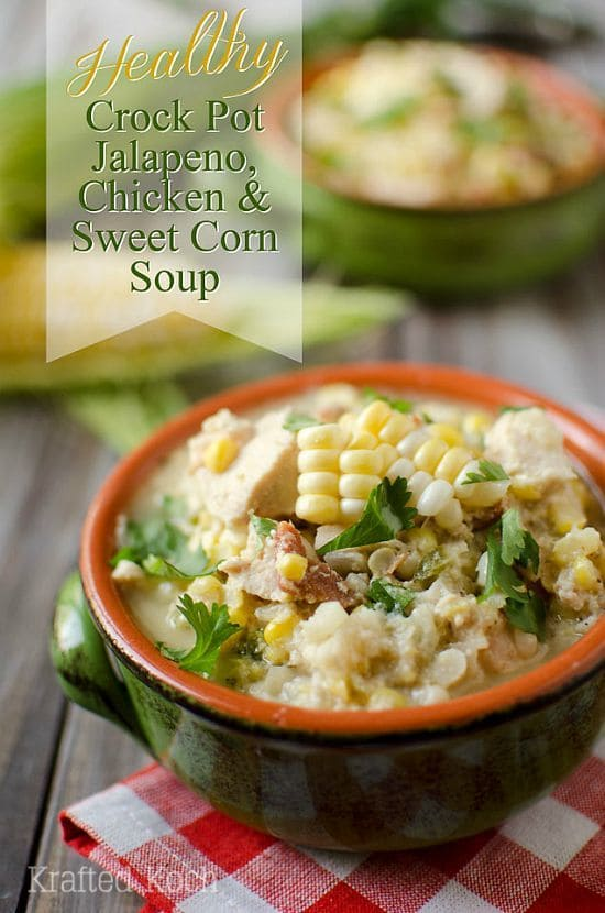 Crock Pot Jalapeno, Chicken & Sweet Corn Soup by The Creative Bite