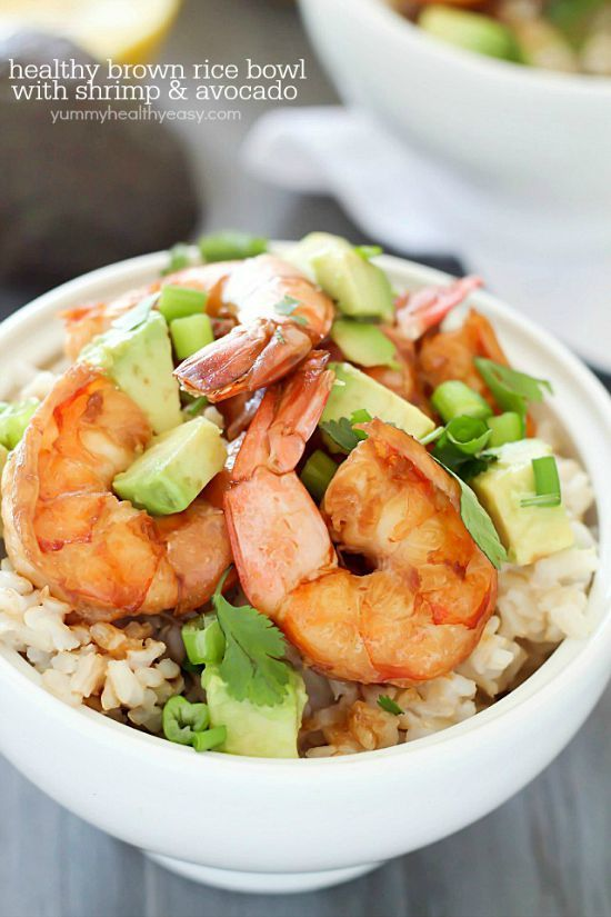 Healthy Brown Rice Bowl with Shrimp & Avocado with a delicious sauce - a light and easy dinner that will satisfy and taste great!