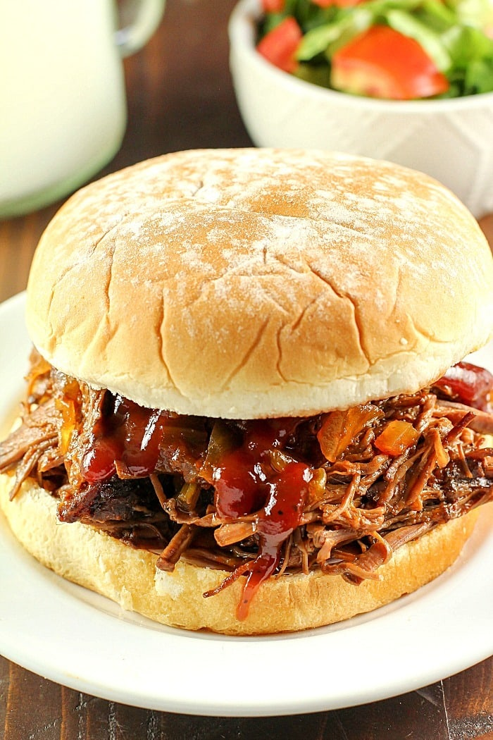 Slow Cooker Shredded Beef Sandwiches - Yummy Healthy Easy