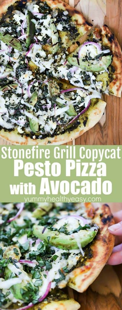 Stonefire Grill Copycat Pesto Pizza with Avocado Collage for Pinterest with text.